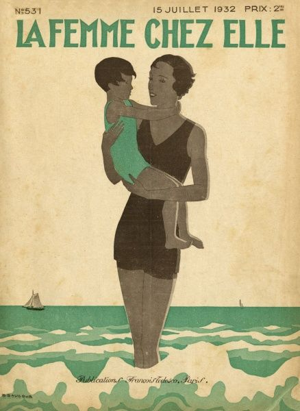 Mother and child in the surf Date: 1932