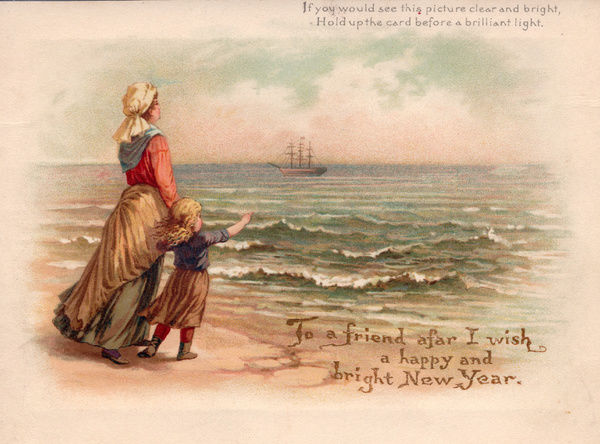 mother and child on the beach watching a distant ship on a new year card