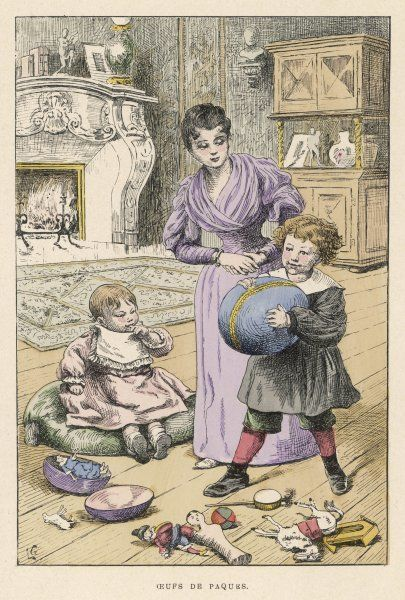 A mother and her two children with Easter eggs and toys, in a room with a very ornate fireplace