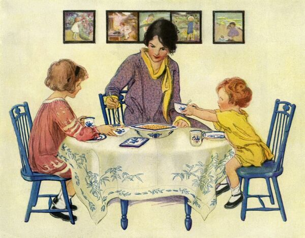 A mother sits down to a meal with her two little daughters, and ladles soup into bowls