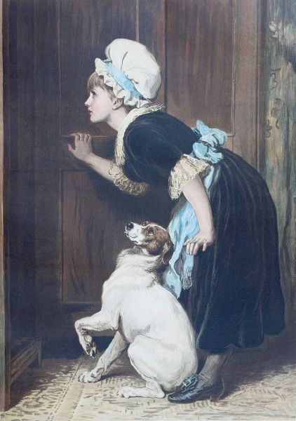 Painting by Briton Riviere illustrating the nursery rhyme, Old Mother Hubbard. A young girl in a mop cap goes to open a cupboard door while her Jack Russell terrier waits intently