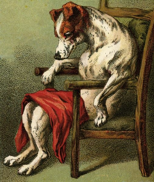 She went to the ale-house To get him some beer But when she came back The dog sat in a chair Date: 1890s