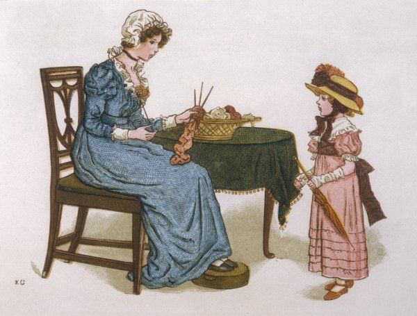 Mother knitting whilst speaking to her daughter