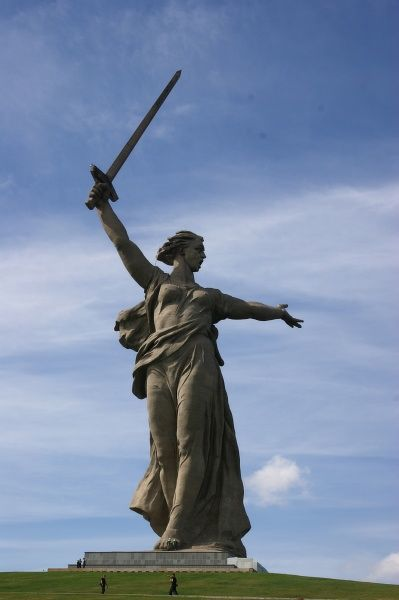 Russia, Volgograd (Zaryzin, Stalingrad) - The Battle of Stalingrad Memorial (fought during World War Two between August - January 1942/43). Mamajev Kurgan Hill, the world's highest statue (82 m) 'Mother Russia'. Date: 2010