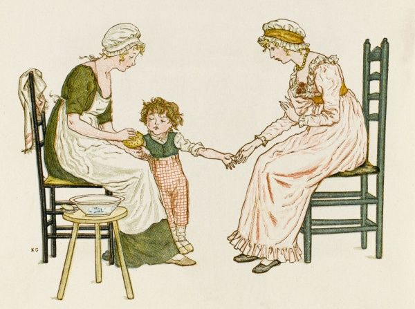 A Victorian maid washes the hand of the son of her mistress
