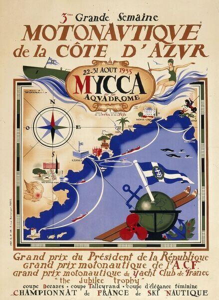 Poster advertising a powerboat race off the Cote d'Azur taking place from 22nd to 31st August 1935