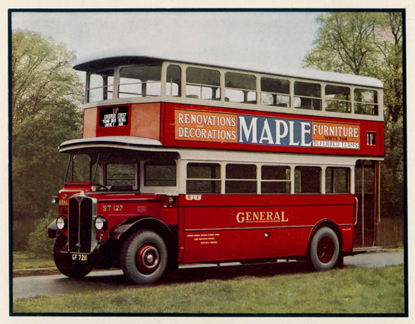 A classic double-decker of the London General Omnibus Company on the '11' route which still links Liverpool Street with Victoria via Charing Cross