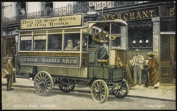 A single-decker London bus operated by the 'London Power Omnibus Company' (route from Marble Arch to Kilburn)