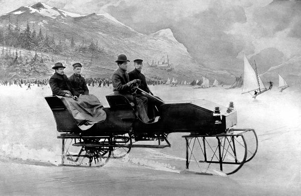 Photographic montage showing a motor car on runners, or motor sleigh, designed for use in snowy conditions, USA, 1907