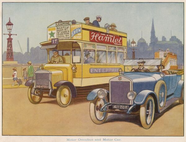 Traffic passing a bridge in an unidentified town. A shiny blue open top car runs alongside a yellow omnibus emblazoned with advertising. Date: c.1925
