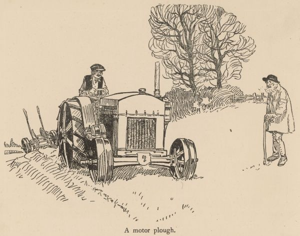 An old farmer in a traditional smock stands forlornly watching a new, motorised plough make quick work of a field. Behind the motor plough is an old hand or horse driven plough, soon to be surplus to requirements