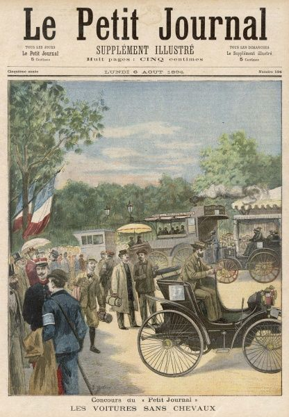 Panhard and Peugeot share the honours at a rally organised by 'Le petit Journal', Paris