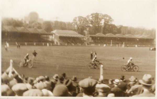 Motorcycle racing on a track at Crystal Palace, South London. Date: early 20th century
