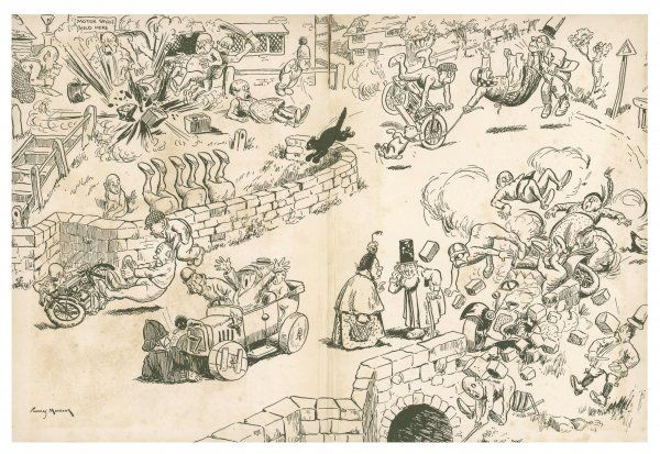 Illustration 2/2 A comical cartoon showing elves or possibly pixies getting into mischief with various motor vehicles