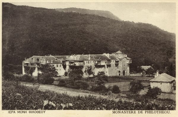 Mount Athos, Greece - Philotheou Monastery. An Eastern Orthodox monastery founded by the Blessed Philotheus at the end of the 10th century. Date: circa 1910s