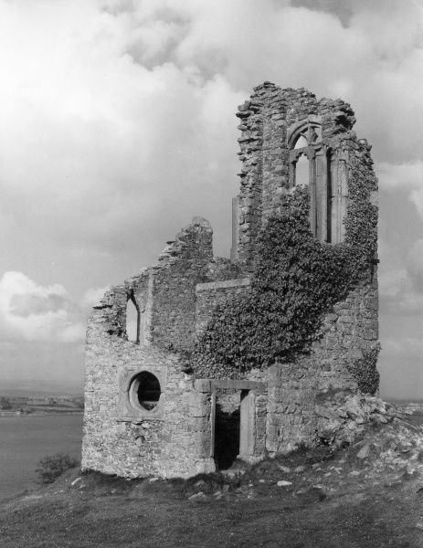The ruined chapel in Mount Edgcombe Park, Cornwall, England. Date: Medieval