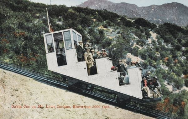 Cable car on the Mount Lowe scenic railway incline at an elevation of 3000 ft, California, America