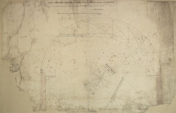Design for equatorially mounting the proposed 4 feet apeture reflecting telescope, side elevation Date: 1853