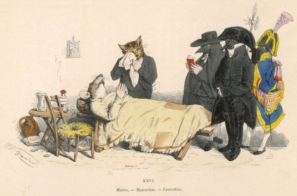 Mourners and undertakers at a mouse's deathbed