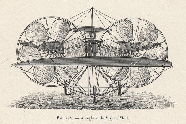 MOY AND SHILL'S PROJECT An elaborate machine with massive propellors and relatively small wings