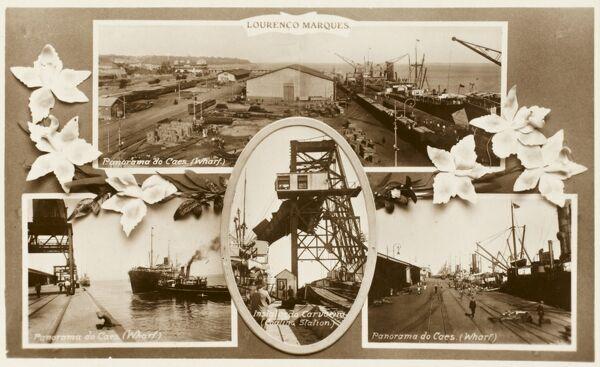 Multi-view postcard showing scenes of Harbour / Port / Trade activity on the coast of Mazambique at Maputo