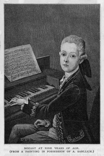 WOLFGANG AMADEUS MOZART the Austrian composer at the age of eleven, seen at the keyboard