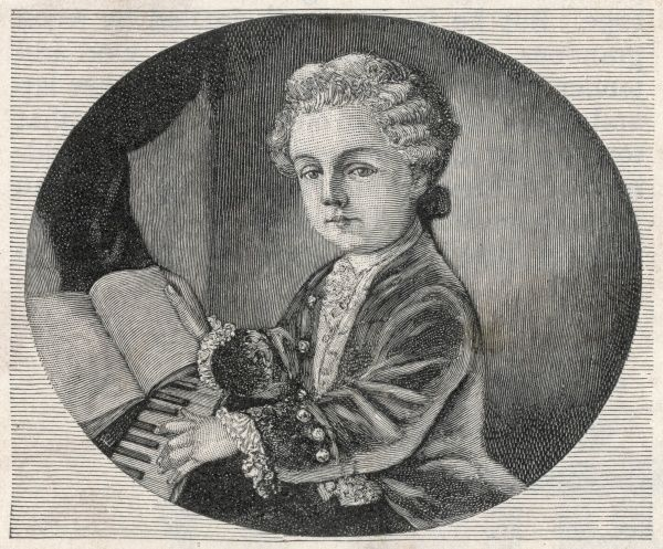WOLFGANG AMADEUS MOZART the Austrian composer at the age of four, seen at the keyboard