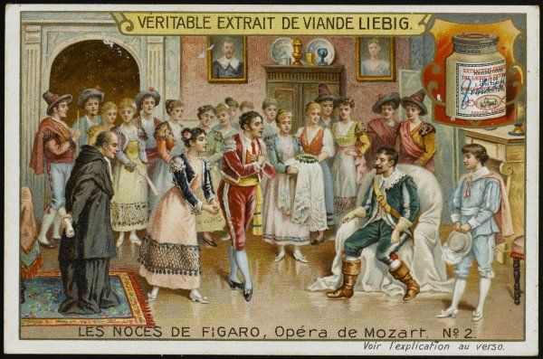 (The Marriage of Figaro) Count Almaviva listens to Figaro and Susanna, suspecting that he is being duped