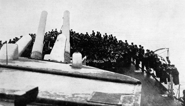 The Prime Minister, Mr H. H. Asquith, addressing men on board the 'Iron Duke' during a visit to the Grand Fleet