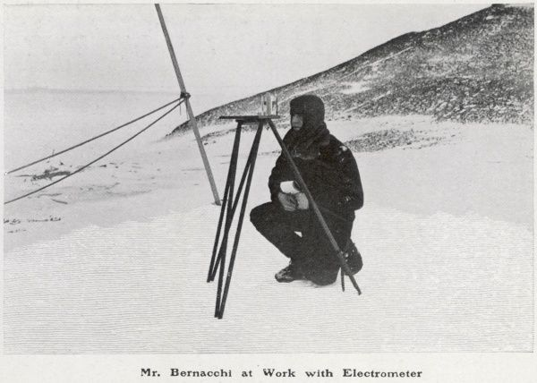 Mr Bernacchi, a member of the British 1901-4 polar expedition, at work with an electrometer