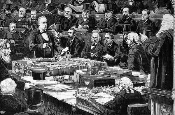 Mr Bradlaugh seen in the House of Commons taking the oath of allegiance
