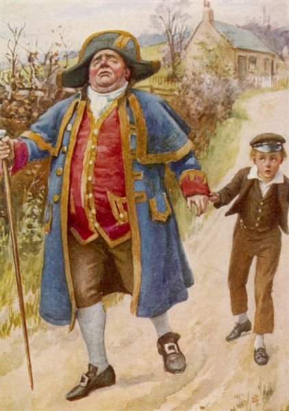 Stern Mr. Bumble holds the hand of apprehensive young Oliver Twist, as they walk away from the workhouse