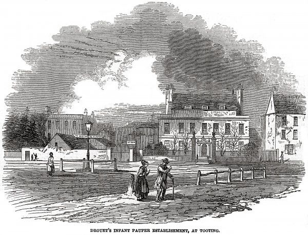 A view of the school for pauper children, privately run by Bartholomew Peter Drouet at Tooting in Surrey (now south west London). In 1849, a cholera epidemic broke out at the school