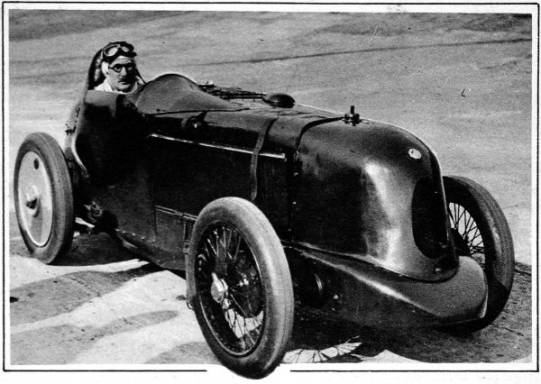 Breaker of Sir Malcolm Campbell's world speed record for 'baby' cars seen here in his M
