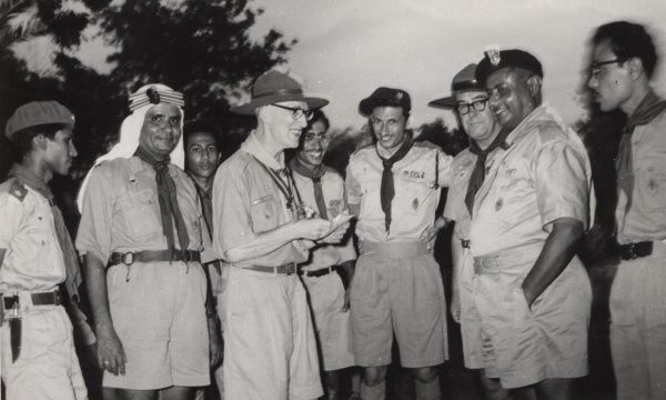 Mr F. Morgan (Commonwealth Commissioner) with 1st Aden Group, Sheikh Othman. 19 August 1959