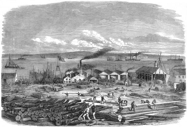 Engraving of Mr. Laird's ship-building yard in Liverpool