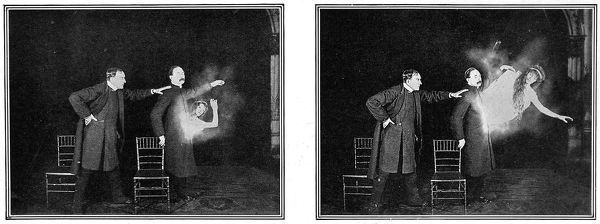 A photographic example of Mr Maskelyne's experiment - a mechanical illusion of spiritual manifestations