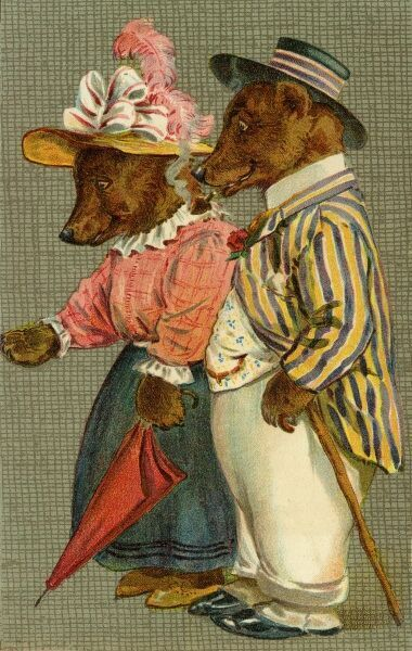Mr and Mrs Bear by gh Thompson. George Henry Thompson (1859-1959) specialised in illustrating humorous animals. He was also a landscape painter. This image in books and postcards by Ernest Nister. Date: circa 1904