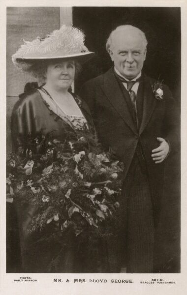 The British Prime Minister David Lloyd George (1863 - 1945) and his wife Dame Margaret Lloyd George (1866 - 1941). They married in 1888 and had five children. This picture would appear to date from the start of Lloyd George's Premiership