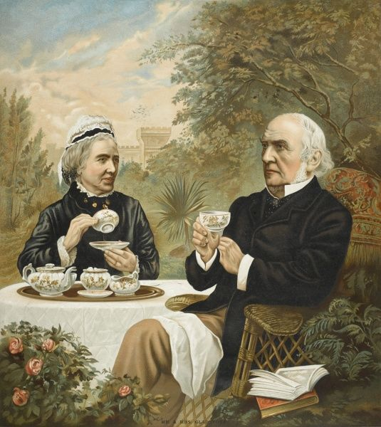 Colour illustration of William Ewart Gladstone, English Liberal statesman, (1809-98) together with his wife, Catherine Gladstone (1812-1900), nee Glynne, enjoying tea in the garden at their home, Hawarden