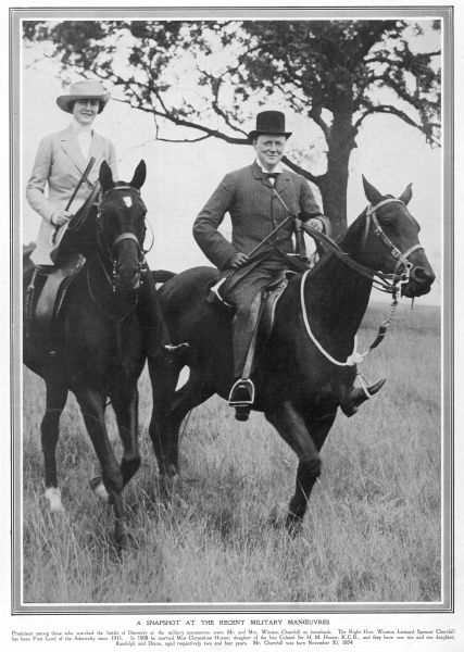 Mr Winston Churchill, First Lord of the Admiralty and Mrs Clementine Churchill on horseback