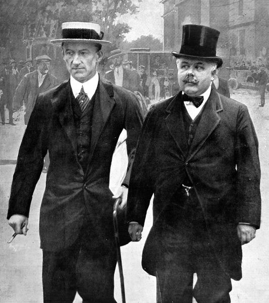 Mr Percy Holden Illingworth, the chief whip for the Liberal Party pictured with Lord Murray whose purchase of the American Marconi shares had been leaked, causing much scandal at the time