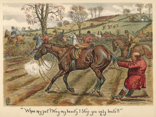 Having fallen off his horse, Mr Popple grabs it by the tail to stop it running away