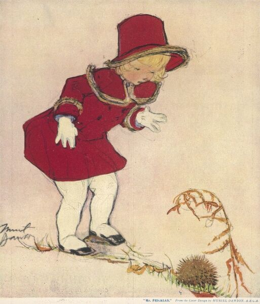 A sweet little blonde girl wearing a smart matching red coat and hat, comes across a little hedgehog which has curled itself up into a ball
