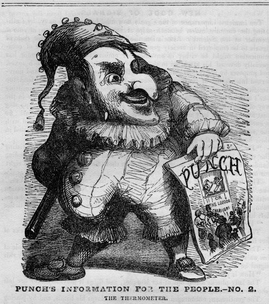The Mister Punch character holding a copy of the first issue of Punch magazine