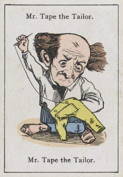 "Mr Tape the Tailor, from ""Happy Families"" devised in Britain by Mr Jacques in 1861"