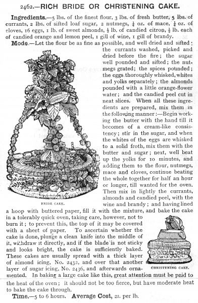 Recipe for a rich bride or christening cake, 1891. Date: 1891