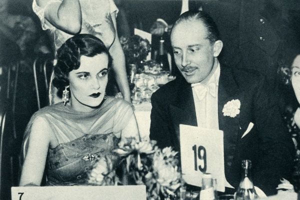 Mrs Charles Sweeny, formerly Miss Margaret Whigham and later the infamous Duchess of Argyll (1912 - 1993) pictured at the Golf Ball with Mr Eustace Storey. Her husband was an American champion golfer. Date: 1934