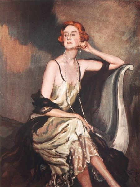 Portrait of Mrs Heathcote dressed elegantly in an evening dress with her red hair bobbed, and a string of pearls