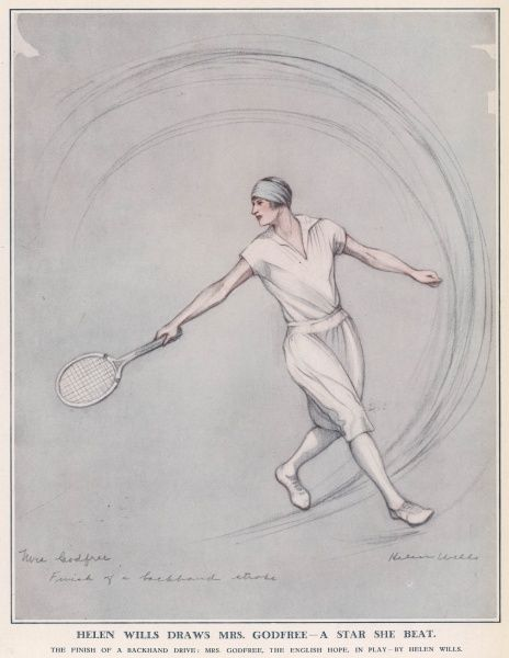 A depiction of Mrs Kitty Godfree (nee McKane), English tennis player, by a rival player, the American Helen Wills. Both of them were appearing at Wimbledon. Godfree has just finished a backhand drive